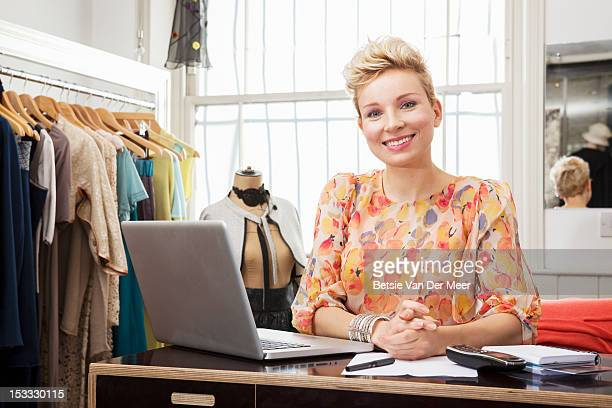 Portrait of fashion designer in studio.