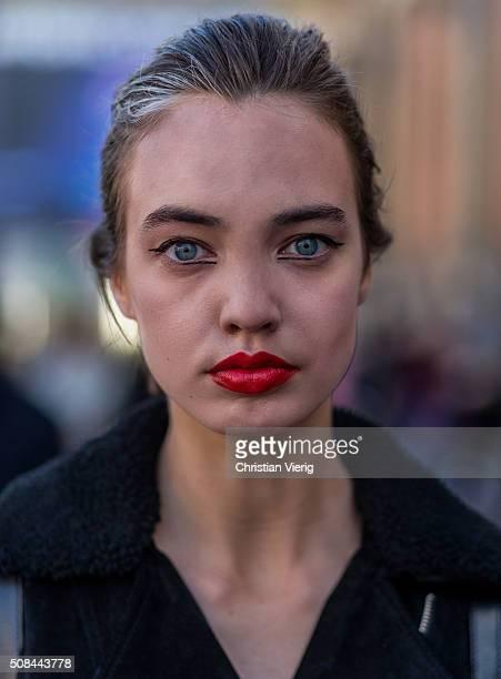 Portrait of fashion model Benedikte Klüver outside By Malene Birger during the Copenhagen Fashion Week Autumn/Winter 2016 on February 4 2016 in...