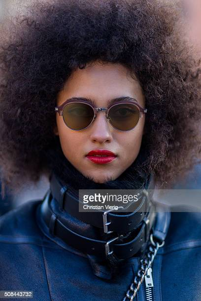 Portrait of fashion model Melodie Vaxelaire outside By Malene Birger during the Copenhagen Fashion Week Autumn/Winter 2016 on February 4 2016 in...
