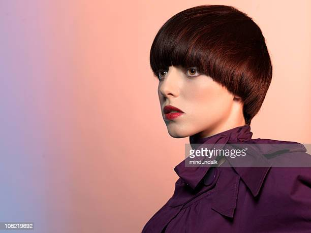 portrait of fashion model - short hair stock pictures, royalty-free photos & images