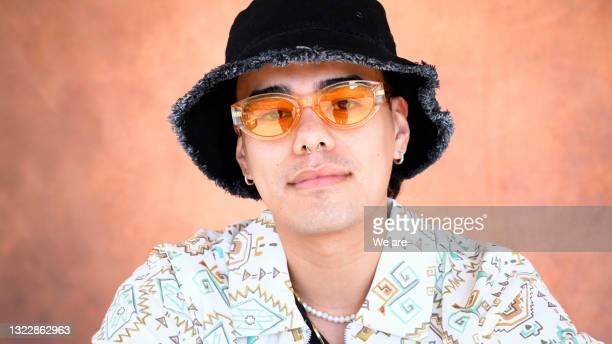 portrait of fashionable man - headwear stock pictures, royalty-free photos & images
