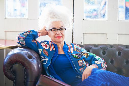 portrait of fashionable senior woman - gettyimageskorea