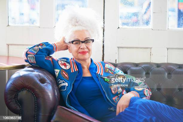 portrait of fashionable senior woman - fashionable stock pictures, royalty-free photos & images