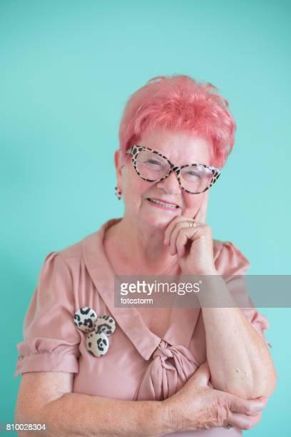 Portrait of fashionable senior woman
