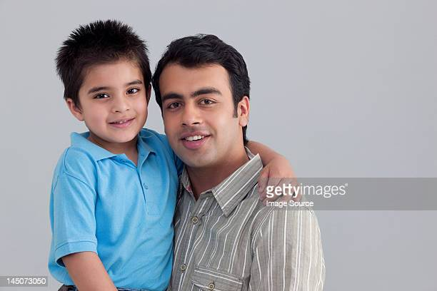portrait of father and son - toothy smile stock pictures, royalty-free photos & images
