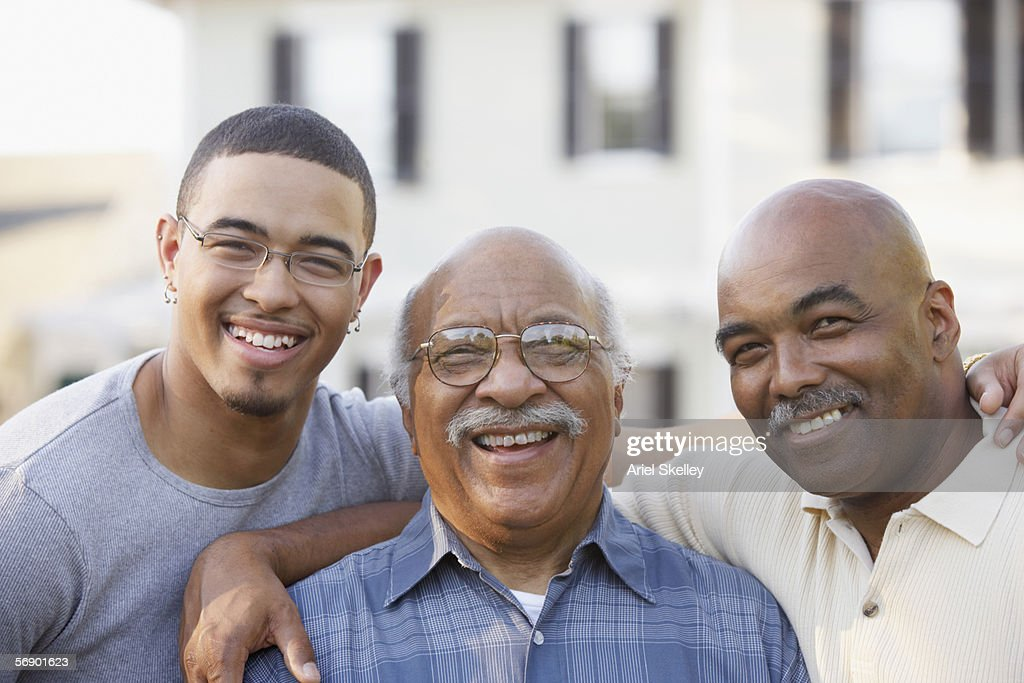 Portrait of father son and grandfather : Stock Photo