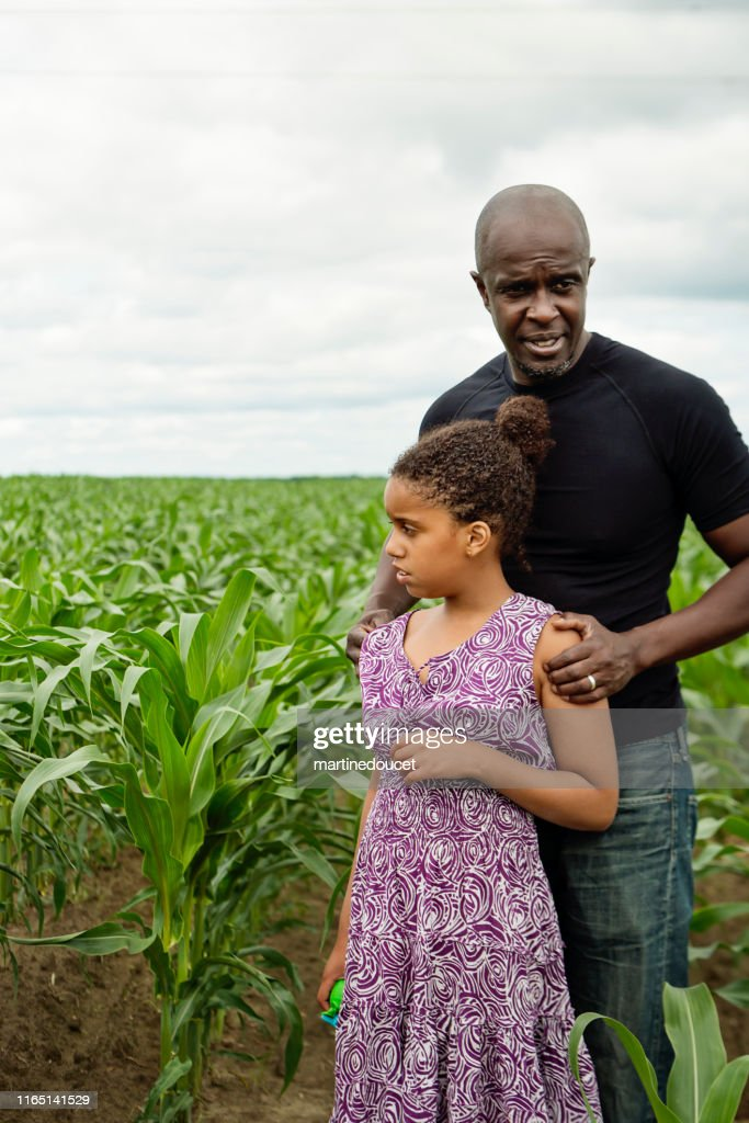 Portrait of father with autist daughter in nature. : Stock Photo