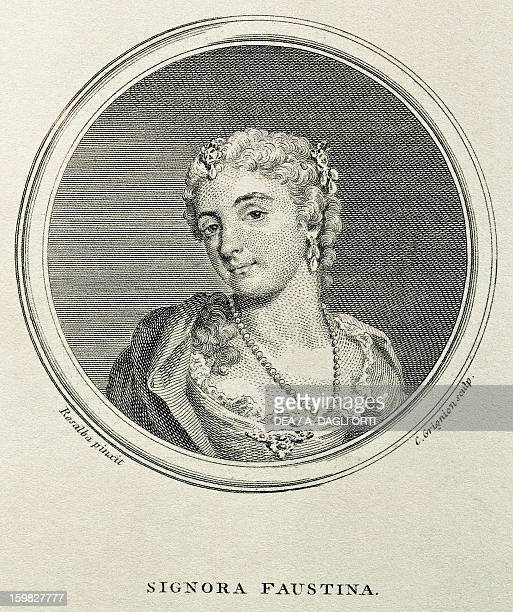 Portrait of Faustina Bordoni , Italian mezzo-soprano singer. Wife of composer Johann Adolph Hasse. Engraving by Grignion from a drawing by Rosalba...