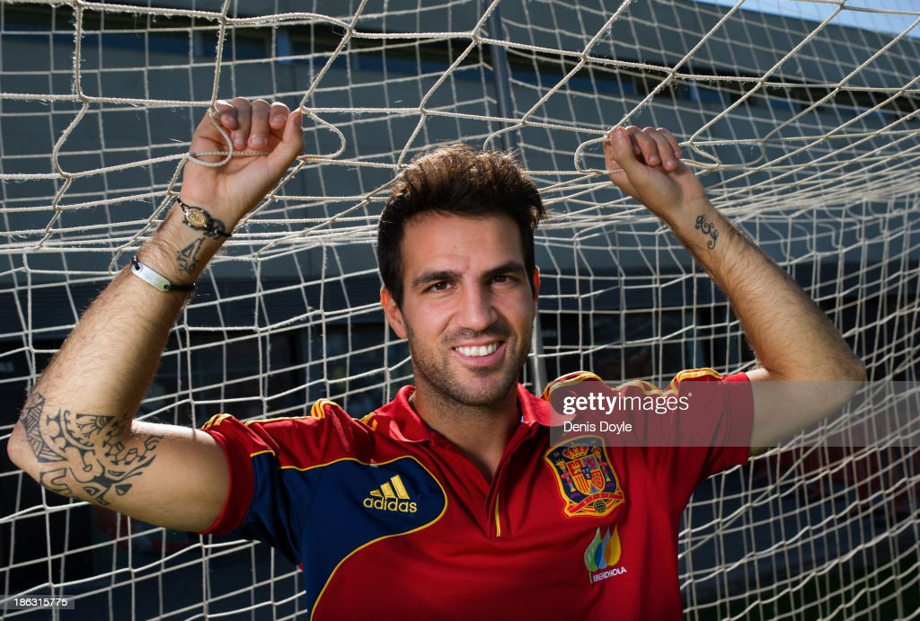 Portrait of FC Barcelona player Cesc Fabregas at the Spanish Football Federation Grounds on October 28, 2013 in Madrid, Spain.