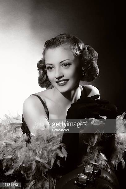 Portrait of female actress in film noir style