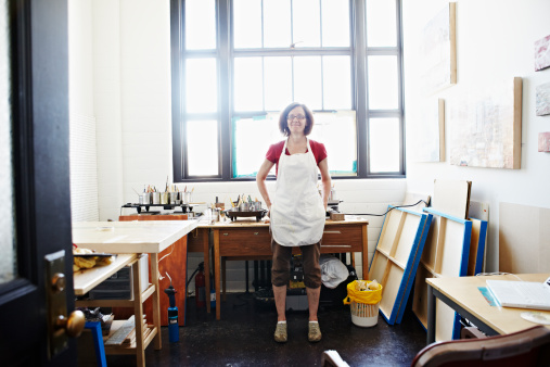 Portrait of female artist standing in studio - gettyimageskorea