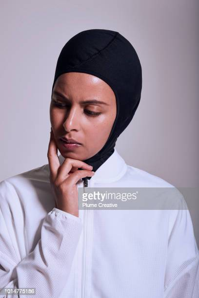 Portrait of female athlete in contemplative moment