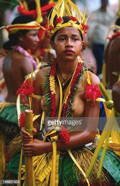 Portrait of female dancer at Yap Day Festival.