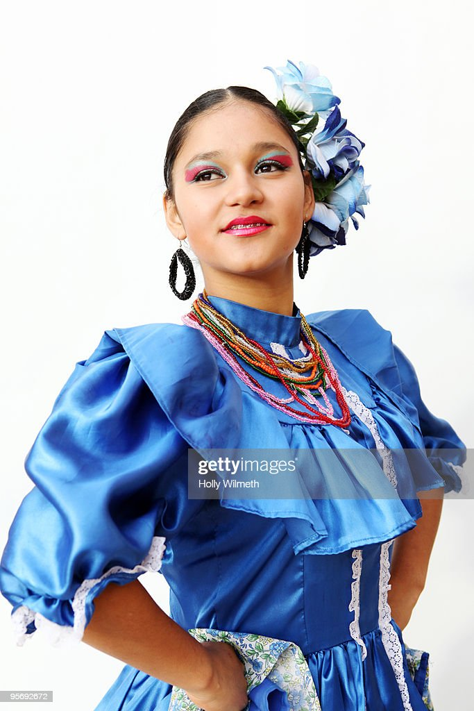 Portrait of female dancer in traditional costume : Bildbanksbilder