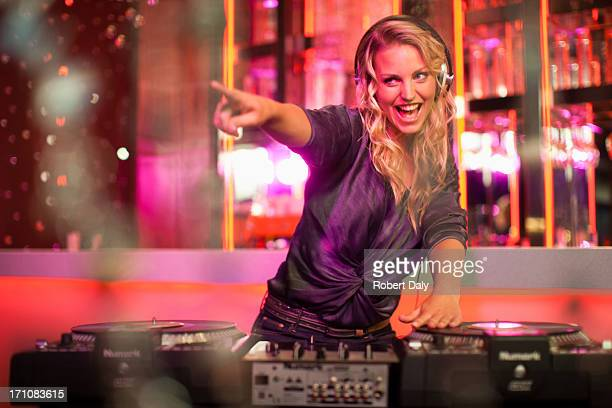 portrait of female dj  - dj stock pictures, royalty-free photos & images
