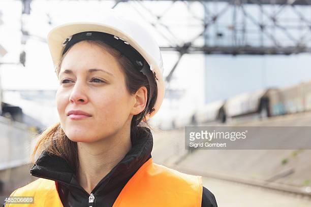 Portrait of female dockworker