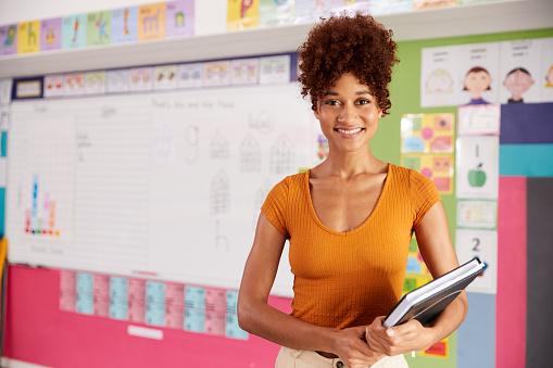 Portrait Of Female Elementary School Teacher Standing In Classroom 1160927409
