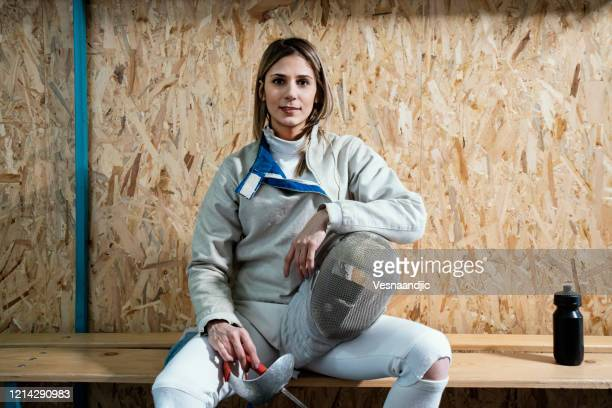 portrait of female fencer in locker room - world sports championship stock pictures, royalty-free photos & images