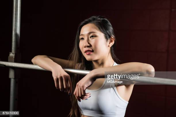 Portrait of female fitness player
