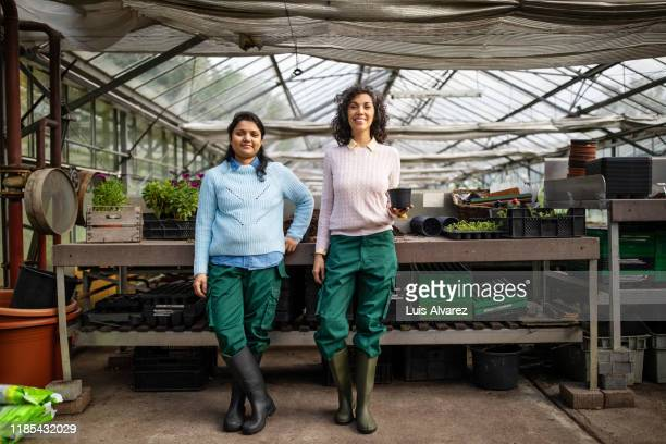 portrait of female gardeners standing together in greenhouse - environmentalist stock pictures, royalty-free photos & images