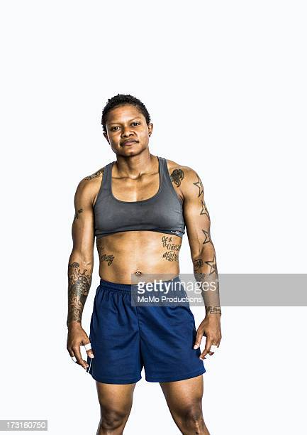 portrait of female gym - short hair for fat women stock pictures, royalty-free photos & images
