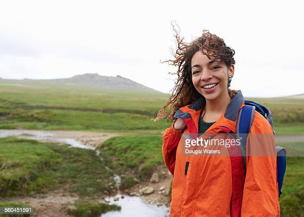Portrait of female hiker in countryside