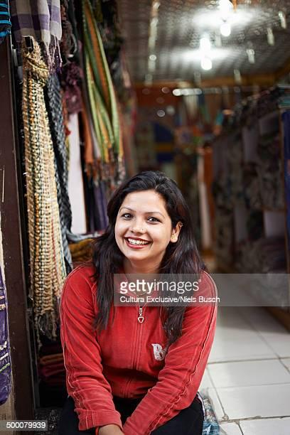 Portrait of female market trader, Thamel, Kathmandu, Nepal