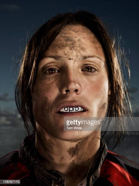 portrait of female rugby player - rugby stock pictures, royalty-free photos & images