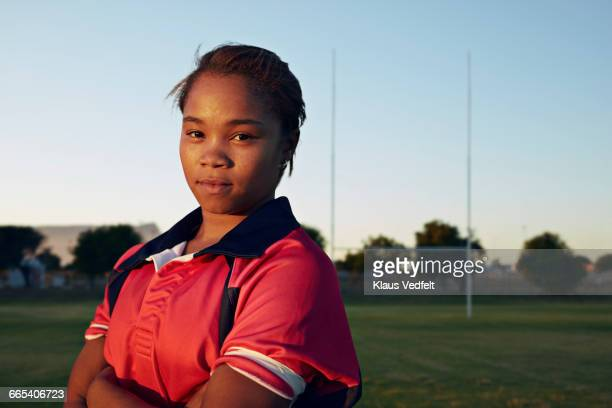 Portrait of female rugby player