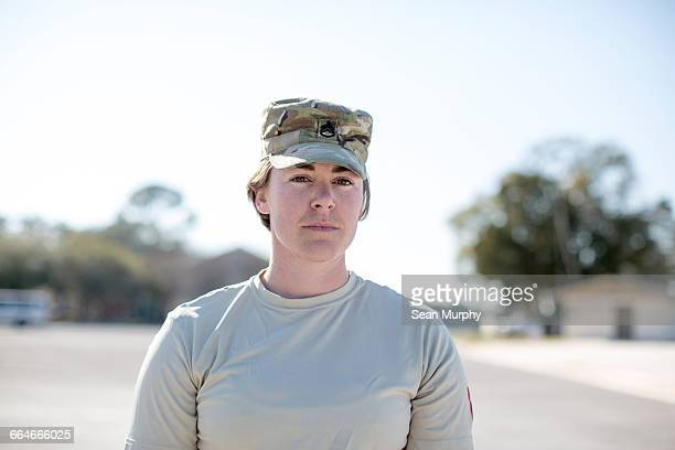Portrait of female soldier at air force military base