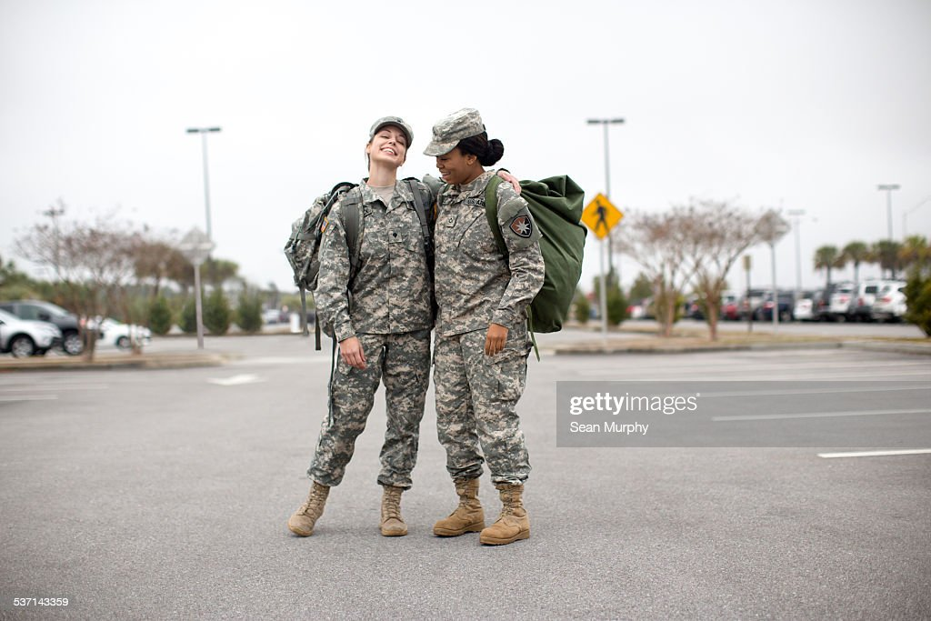 Portrait of Female Soldiers in Parking Lot : Stock Photo