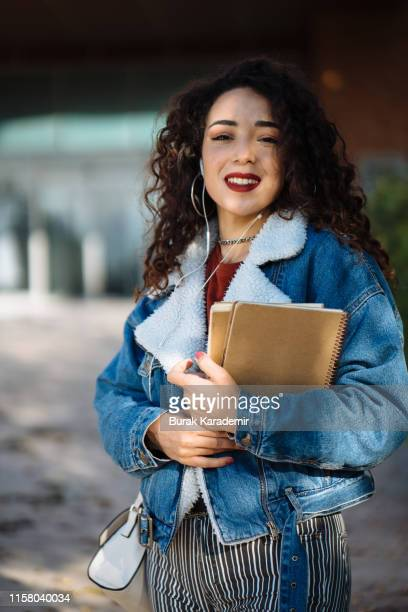 portrait of female student - beautiful turkish girl stock pictures, royalty-free photos & images