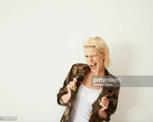 Portrait of female wearing a camo jacket