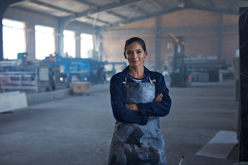 Portrait of female worker at factory - gettyimageskorea