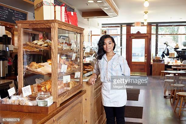 Portrait of female worker in bakery