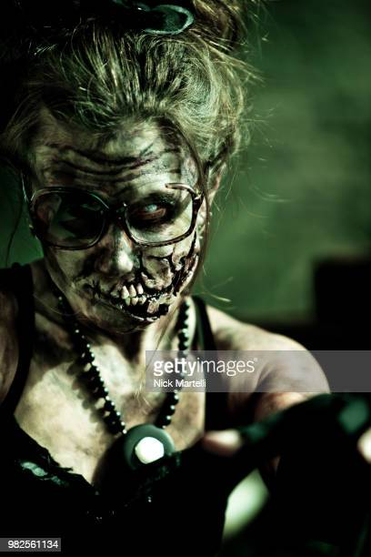 portrait of female zombie, denver, colorado, usa - malicious wounding stock photos and pictures