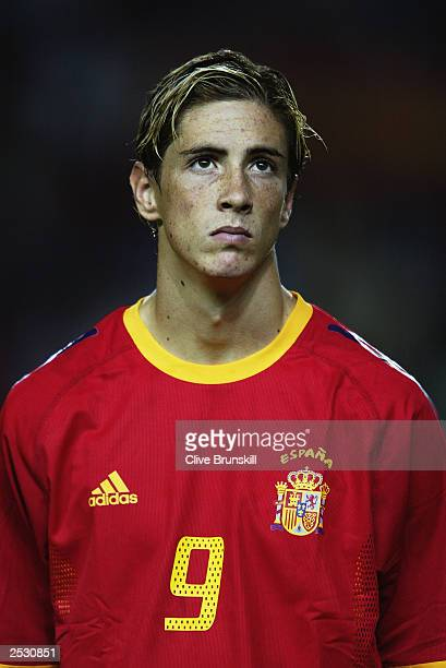 Portrait of Fernando Torres of Spain taken before the UEFA European Championships 2004 Group 6 Qualifying match between Spain and Ukraine held on...