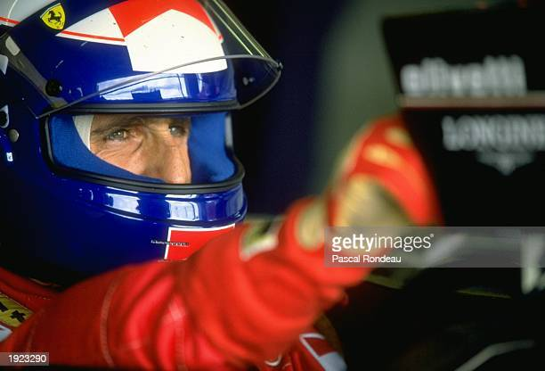 Portrait of Fiat Ferrari driver Alain Prost of France before the British Grand Prix at the Silverstone circuit in England Prost finished in third...