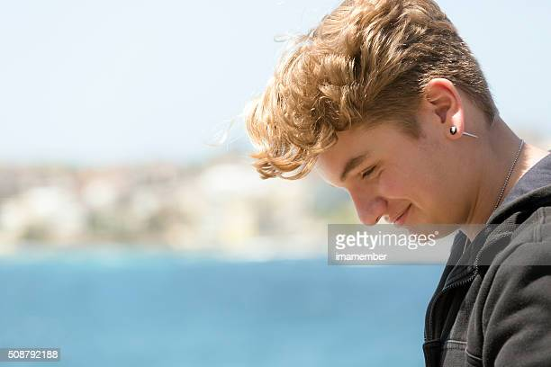 portrait of fifteen years old teenage boy, profile, copy space - 14 15 years stock pictures, royalty-free photos & images