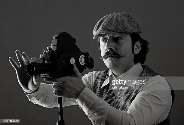 Portrait of film director behind camera
