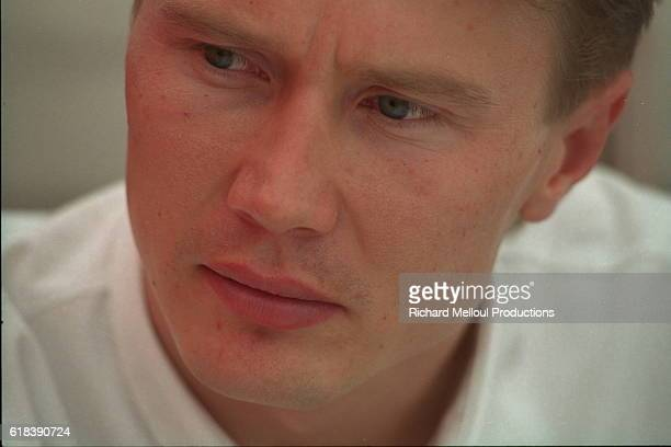 Portrait of Finnish pilot Mika Hakkinen