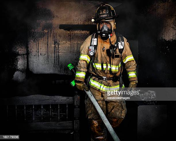 portrait of firefighter - fire protection suit stock photos and pictures