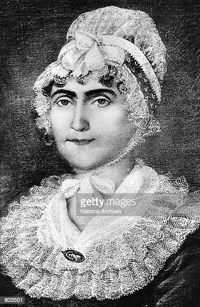 A portrait of First Lady Martha Washington whose husband George was first President of the United States serving from 1789 to 1797