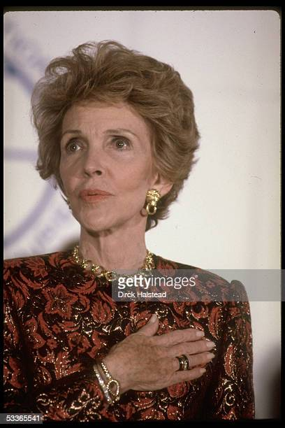 Portrait of First lady Nancy Reagan at tribute for her work against drugs