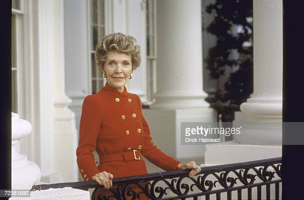 Portrait of First Lady Nancy Reagan on White House balcony