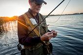Portrait of Fisherman Tying a Fly on Stege Nor Denmark