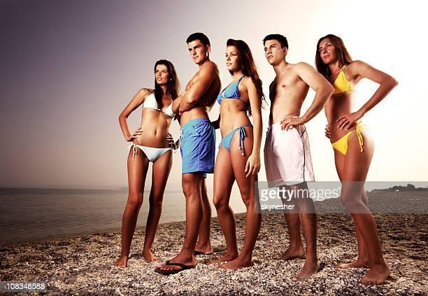 Portrait of five bikini model.