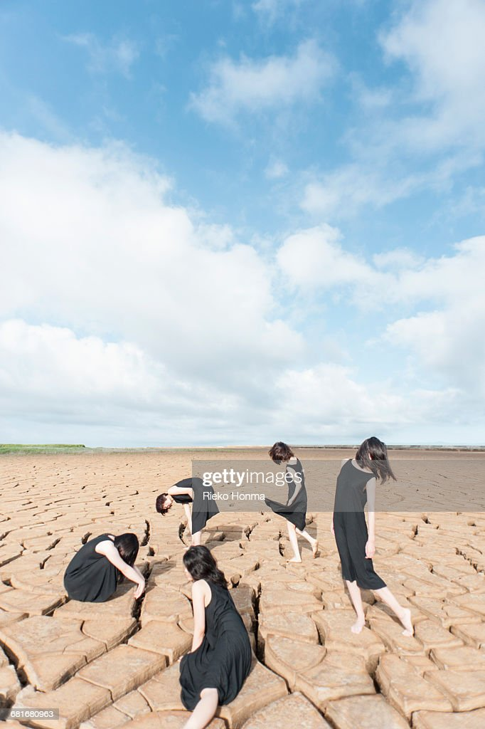 Portrait of five women on the dry land : Stock Photo