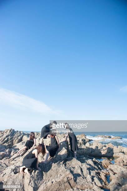 Portrait of five women on the rock