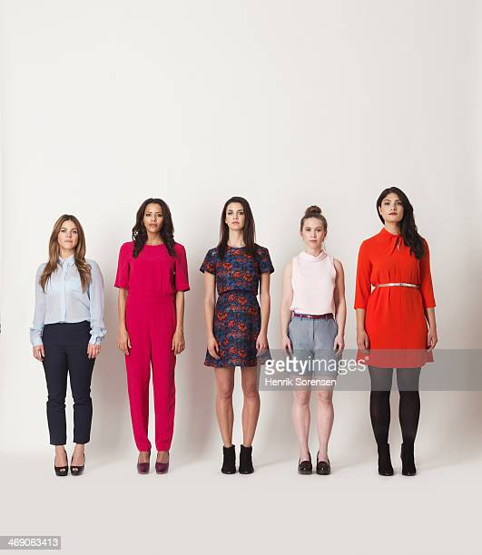 portrait of five young women - five people stock pictures, royalty-free photos & images